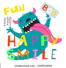 Crazy Monster Funny Character and Lettering Design. Colorful cartoon with monster happy smile and boo lettering.