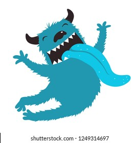 Crazy Monster Showing Tongue Jumping. Character design cartoon fluffy with horns and big tongue out.