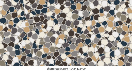 Crazy paving in natural neutral colors, textured terrazzo Seamless Repeat Vector Pattern. Thousands of random non-overlapping elements. Generative Art (made with code).