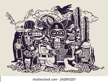 crazy persons, bikers, skulls and cactus. vector illustration.