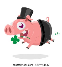 crazy pig in chimney sweep costume