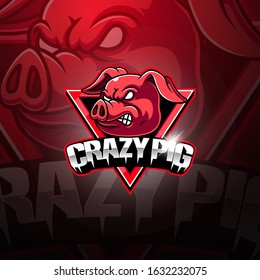 Crazy Pig esport mascot logo design