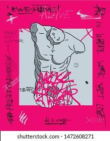 Crazy pink calligraphy. Belvedere Torso.  Vector illustration hand drawn.