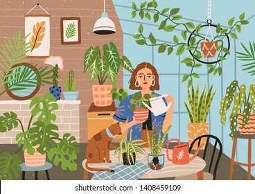 Crazy plant lady at greenhouse or home garden. Cute funny young woman with watering can taking care of houseplants growing in pots or planters. Modern vector illustration in flat cartoon style.