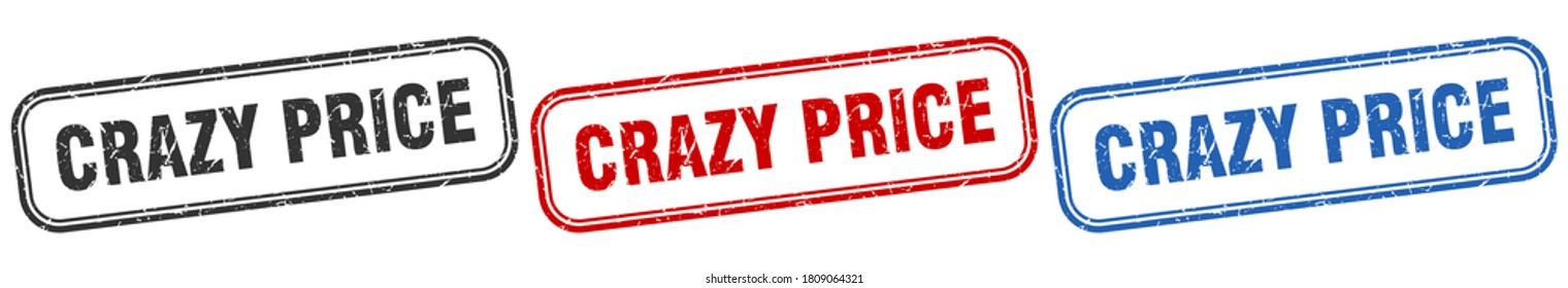 crazy price square isolated sign set. crazy price stamp