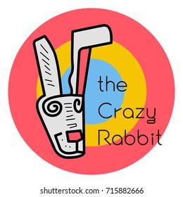 Crazy rabbit vector icon art and illustration