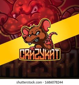 Crazy rat esport mascot logo design