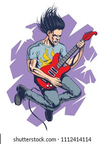 Crazy rock guitar player jumps. Vector illustration.