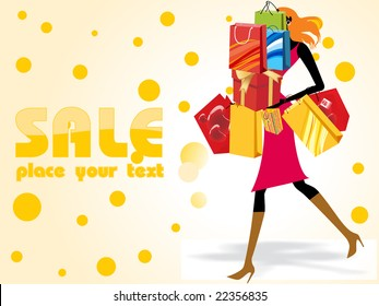crazy sale background with a modern girl loaded with shopping bags