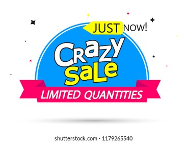 Crazy Sale, banner design template, discount tag, vector illustration