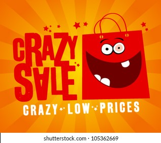 Crazy sale design template, with fun red bag.