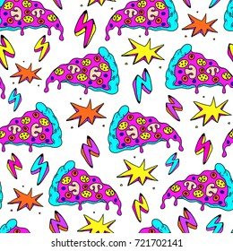 Crazy seamless pattern with patches, stickers, badges, pins with pizza slices, lightning strikes, and colorful explosions. White background.