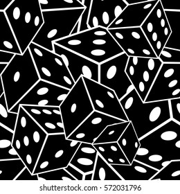 Crazy seamless vector pattern made of dices.