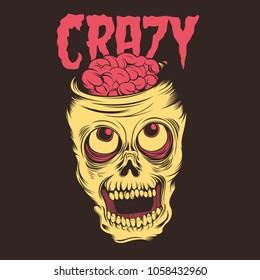 Crazy Skull Illustration