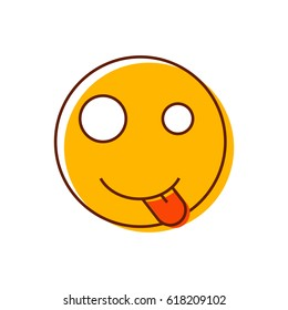 Crazy smiley sticking out his tongue. Vector emoticon