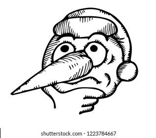 crazy snowman cartoon face