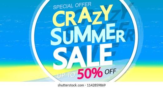 Crazy Summer Sale, poster design template, special offer, up to 50% off, vector illustration