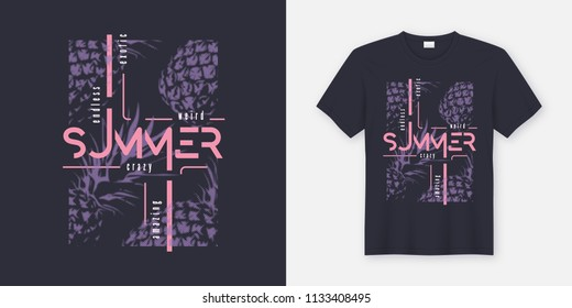 Crazy summer t-shirt and apparel modern design with styled pineapples, typography, print, vector illustration. Global swatches.