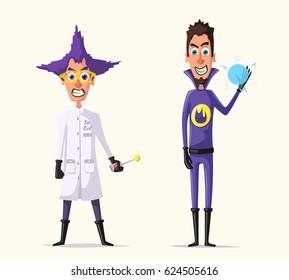 Crazy villains. Cartoon vector illustration.
