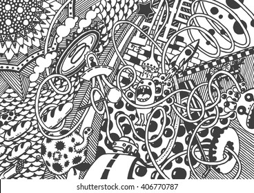 Crazy world, Art. Drawing by hand. Figure style zentangle, doodle pattern. Vector illustrations isolated on white background. Coloring book page.