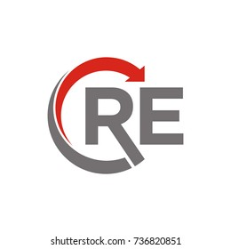 CRE or RE logo initial letter design template vector