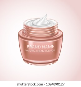 Cream bottle. Natural cosmetic product in 3d illustration