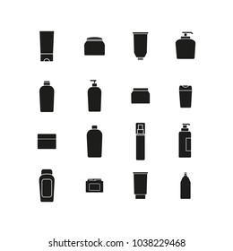 Cream bottles black icons