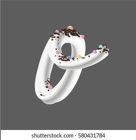 Cream candy letter o. Font design of the white buttercream frosting and sprinkles. 3D photorealistic vector illustration isolated on grey background.