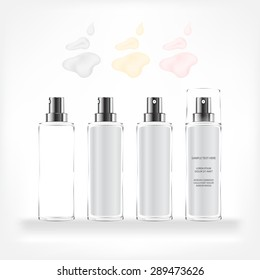 Cream container isolated on white background. Cosmetic glass bottle (transparent). Beauty product package, vector illustration.