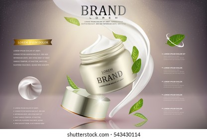 Cream cosmetic ads, silver cream container with green leaves ingredients isolated on pale pinkish grey background, 3d illustration