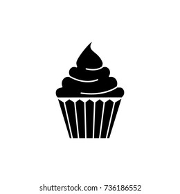 cream cupcake icon, vector illustration, black sign on isolated background
