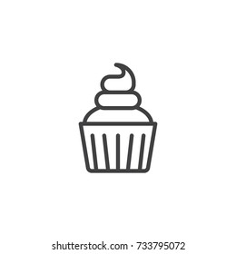 Cream cupcake line icon, outline vector sign, linear style pictogram isolated on white. Symbol, logo illustration. Editable stroke