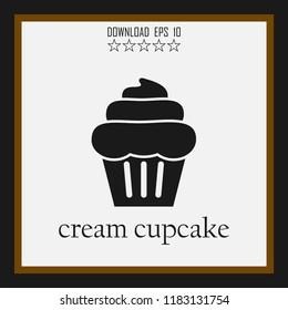 cream cupcake vector icon