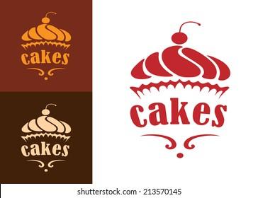 Cream dessert cakes bakery logo or emblem for food, cafe or restaurant menu design