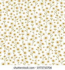 Cream and Gold Hand-Drawn Boho Daisies. Seamless Background Print Pattern.