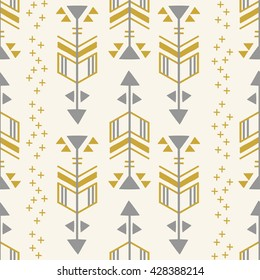 Cream, Grey & Gold Geometric Aarow Seamless Repeat Wallpaper Tile