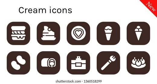 cream icon set. 10 filled cream icons.  Collection Of - Scone, Cake, Candy, Ice cream, Snack cake, Perfume, Makeup, Bitterballen