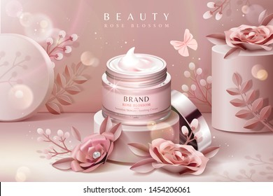 Cream jar ads on podium with pink paper flowers in 3d illustration
