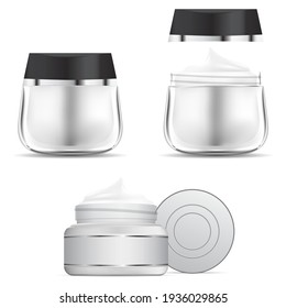 Cream jar. Cosmetic cream glass bottle mockup. Round container for face beauty product, 3d vector illustration. Transparent glossy jar for creme or ointment. Scrub butter canister isolated