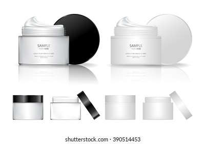 Cream jar isolated on white background. Skin care product package. Vector illustration.