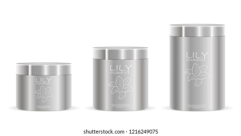 Cream jars pack in silver color with label and logo design. Different height cosmetic cans with lids metallic or plastic. Cosmetics Packaging for cream, salt, powder, ointment. EPS10 vector.