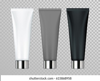 Cream or lotion cosmetic tube vector isolated template for skin care product. White, gray, black Premium face moisturizer packages set with silver cap or lid on transparent background