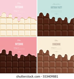 Cream melted on chocolate bar background set. Cute design with sample text.