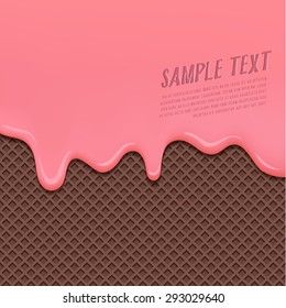 Cream Melted on Chocolate Wafer Background : Vector Illustration