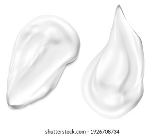 Cream stroke. Cosmetic cream texture swatch. Face creme smear isolated. Sunscreen lotion texture, makeup foundation swirl illustration. Moisture drop, shaving mousse texture, white paint