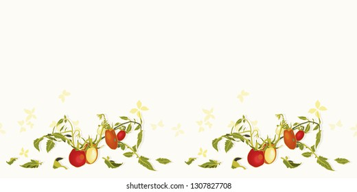 Cream vector repeat border with red tomatoes, blossoms and branches.Novelty pattern. Kitchen.