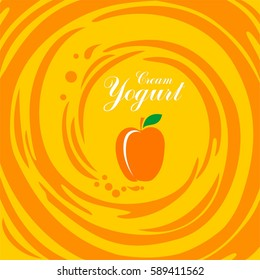Cream Yogurt. Apricot. Vector Illustration