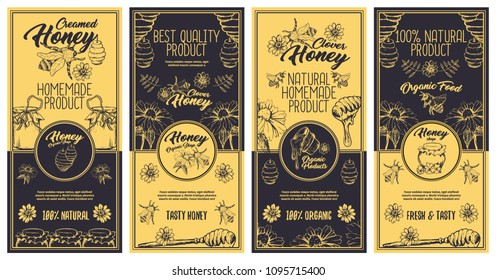 Creamed Honey Bee Brochure and Flyers Concept, Sketch Logo Designs for Packaging with Honeycombs. Vintage Creative Badges and Circle Labels. Yellow and Dark Blue Vector Illustration