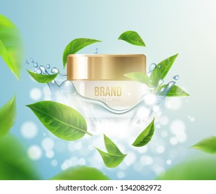 Cream.Water.  Background Concept Skin Care Cosmetic.Container mockup, cosmetic bottle package,bank,3d leaves whirl in the air. .Elegant Background.Vector illustration