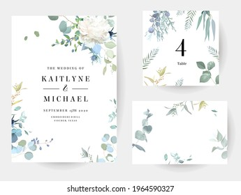 Creamy beige peony, dusty blue thistles, eucalyptus, greenery, juniper, brunia vector design frames. Wedding seasonal flower cards. Floral watercolor compositions. Elements are isolated and editable